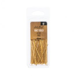 Headpins Flat head 40mm / 21ga - 18kt Goldplated (Pack)
