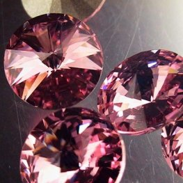 Swarovski Rhinestones - 12mm Rivoli Cut (1122) - Light Rose