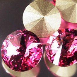 Swarovski Rhinestones - 14mm Rivoli Cut (1122) - Rose
