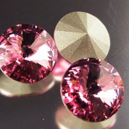 Swarovski Rhinestones - 14mm Rivoli Cut (1122) - Light Rose