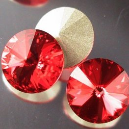 Swarovski Rhinestones - 14mm Rivoli Cut (1122) - Light Siam