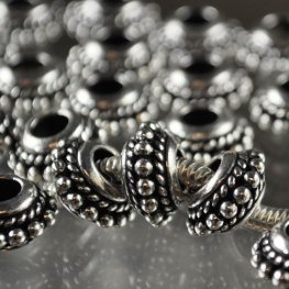 Metal Beads - Pandora/Euro Style - Beaded Twisted Spacer - Antiqued Silver