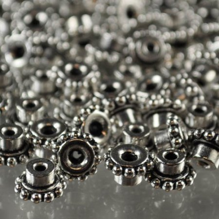 Findings - Bead Caps - ID 4mm Beaded Bead Aligner - Antique Silver (10)