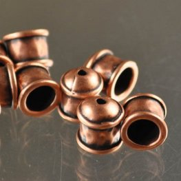 End Cap Hammered Cup ID 5mm - Antique Copper