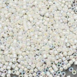5g : Inside Color Iris Rainbow Miyuki 110 Delica Beads DB-0052 Off White-Lined Crystal AB
