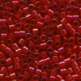 Delicas - 11/0 Japanese Cylinders - Colour Lined Red/Red AB (50 g)