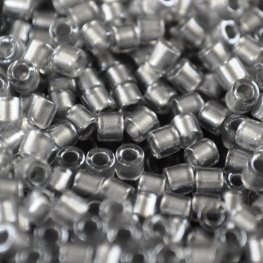 Delicas - 8/0 Japanese Cylinders - Pewter Lined Crystal (50 g)