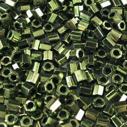Delicas - 8/0 Japanese Cylinders - Cut - Metallic Olive (5 grams)