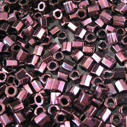 Delicas - 8/0 Japanese Cylinders - Cut - Metallic Dark Raspberry (5 grams)