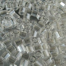 Delicas - 8/0 Japanese Cylinders - Cut - Crystal Lustre (10 grams)