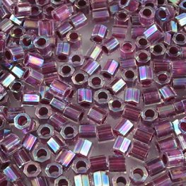 Delicas - 8/0 Japanese Cylinders - Cut - Colour Lined Crystal Raspberry AB Dyed (10 grams)