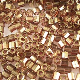 Delicas - 8/0 Japanese Cylinders - Cut - Dark Topaz Gold Lustre (10 grams)