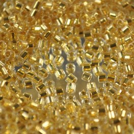 Delicas - 10/0 Japanese Cylinders - Cut - 24 Kt Gold Lined Crystal (3.3 grams)