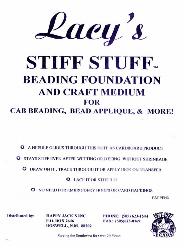 Beading Supplies - Lacy\'s Stiff Stuff - 4.25 x 5.5 inches