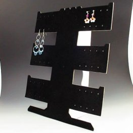 Display Stands - 3-Wing Earring Stand - Black Flock