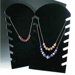 Display Stands - Flat Notched Necklace Stand (Folding) - Black Flocked
