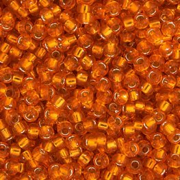 Japanese Seedbeads - 15/0 Miyuki Seedbeads - Silver Lined Orange