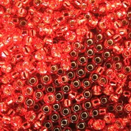 Japanese Seedbeads - 15/0 Miyuki Seedbeads - Silver Lined Flame Red