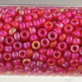 Japanese Seedbeads - 15/0 Miyuki Seedbeads - Matte Transparent Light Red AB