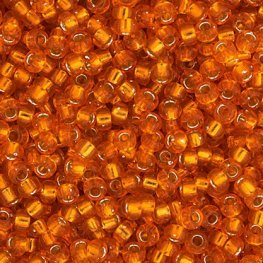 Japanese Seedbeads - 8/0 Miyuki Seedbeads - Silver Lined Orange