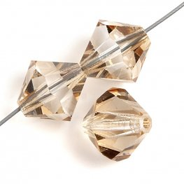 Preciosa Machine Cut Crystal - 4mm Faceted Bicone - Honey (40)