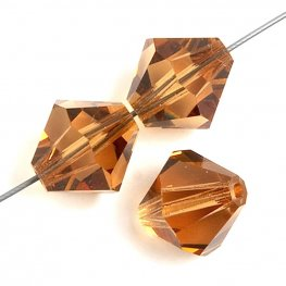 Preciosa Machine Cut Crystal - 4mm Faceted Bicone - Light Colorado Topaz (40)