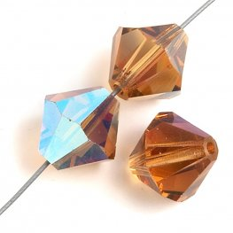 Preciosa Machine Cut Crystal - 4mm Faceted Bicone - Light Colorado Topaz AB (40)