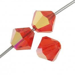 Preciosa Machine Cut Crystal - 4mm Faceted Bicone - Hyacinth AB (40)