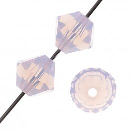 Preciosa Machine Cut Crystal - 4mm Faceted Bicone - Rose Opal (40)