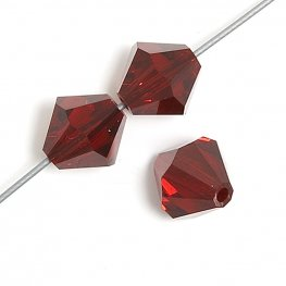 Preciosa Machine Cut Crystal - 4mm Faceted Bicone - Siam (40)