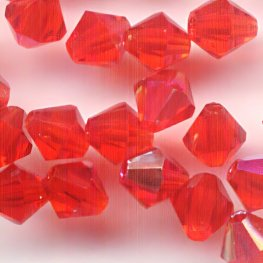 Preciosa Machine Cut Crystal - 4mm Faceted Bicone - Siam AB (40)