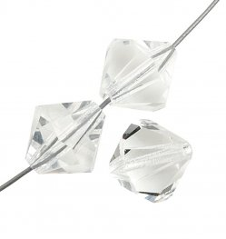 Preciosa Machine Cut Crystal - 6mm Faceted Bicone - Crystal (36)