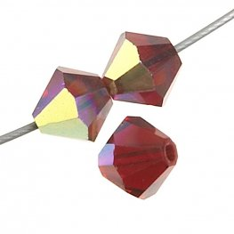 Preciosa Machine Cut Crystal - 6mm Faceted Bicone - Siam AB (36)