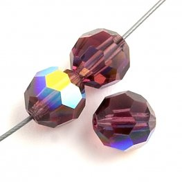 Preciosa Machine Cut Crystal - 3mm Faceted Round - Amethyst AB (40)