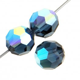 Preciosa Machine Cut Crystal - 3mm Faceted Round - Montana AB (40)