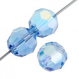 Preciosa Machine Cut Crystal - 3mm Faceted Round - Sapphire AB (40)
