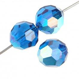 Preciosa Machine Cut Crystal - 4mm Faceted Round - Capri Blue AB (40)