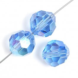 Preciosa Machine Cut Crystal - 4mm Faceted Round - Sapphire AB (40)