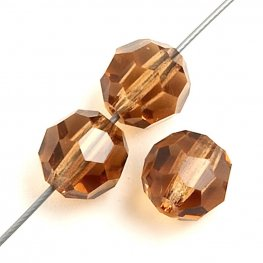 Preciosa Machine Cut Crystal - 5mm Faceted Round - Light Colorado Topaz (32)