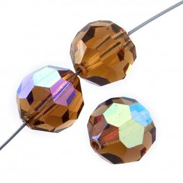 Preciosa Machine Cut Crystal - 5mm Faceted Round - Light Colorado Topaz AB (32)