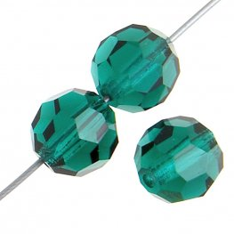 Preciosa Machine Cut Crystal - 5mm Faceted Round - Emerald (32)