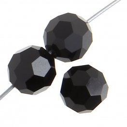 Preciosa Machine Cut Crystal - 5mm Faceted Round - Jet (32)