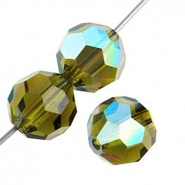 Preciosa Machine Cut Crystal - 5mm Faceted Round - Olivine AB (32)