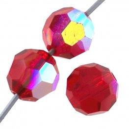 Preciosa Machine Cut Crystal - 5mm Faceted Round - Light Siam AB (32)