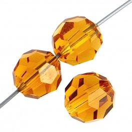 Preciosa Machine Cut Crystal - 5mm Faceted Round - Topaz (32)