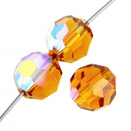Preciosa Machine Cut Crystal - 5mm Faceted Round - Topaz AB (32)