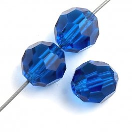 Preciosa Machine Cut Crystal - 6mm Faceted Round - Capri Blue (36)