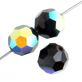 Preciosa Machine Cut Crystal - 6mm Faceted Round - Jet AB (36)