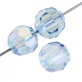 Preciosa Machine Cut Crystal - 6mm Faceted Round - Light Sapphire AB (36)
