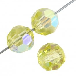 Preciosa Machine Cut Crystal - 8mm Faceted Round - Jonquil AB (36)